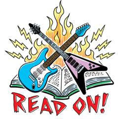 Two guitars in front of an open book with Read On! written below