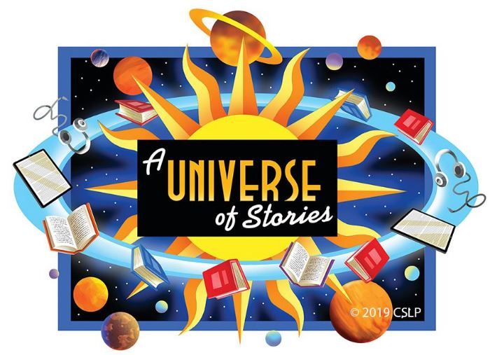 "Books, e-readers, and headphones orbiting the sun. Text reads ""A Universe of Stories"""
