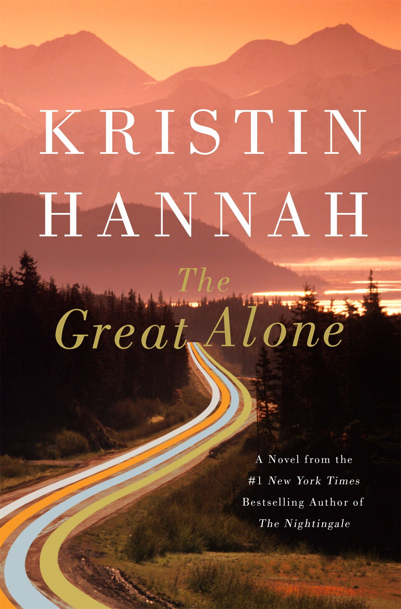 The Great Alone book cover. Pink hued costal forest landscape with mountains in the background. A ro