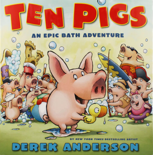 Book cover for ten pigs by derek anderson