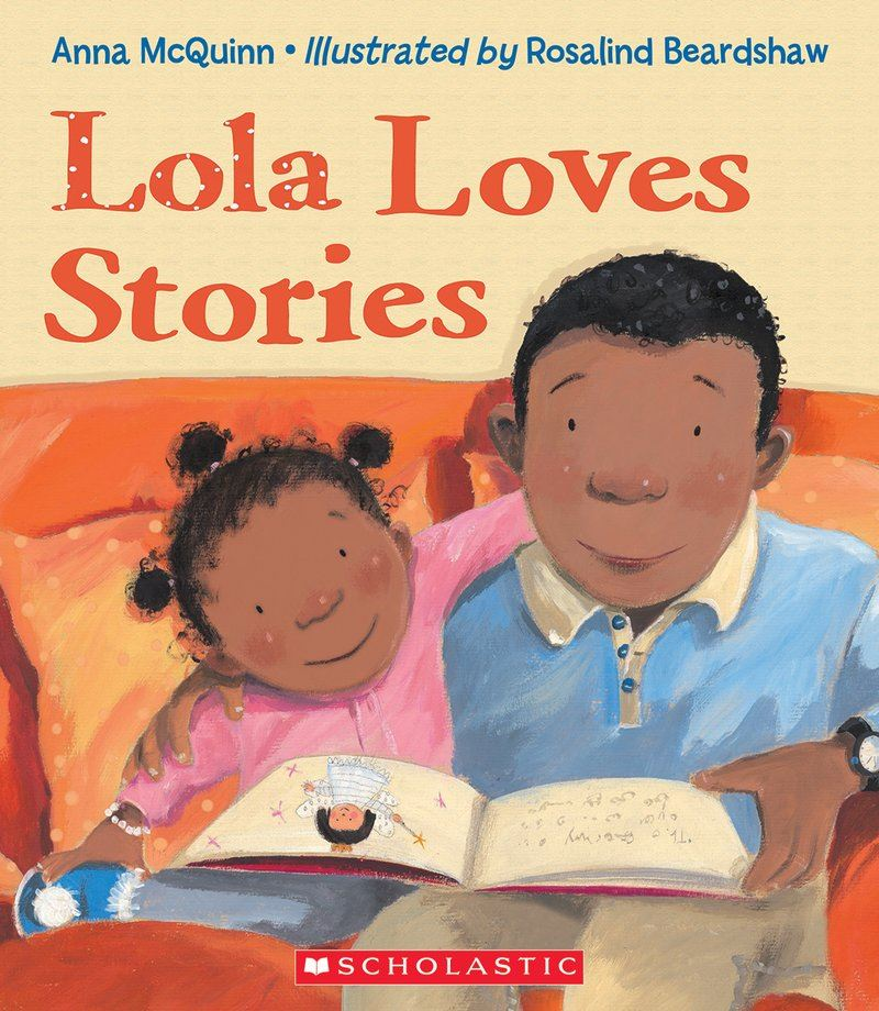 book cover for lola loves stories by anna mcquinn