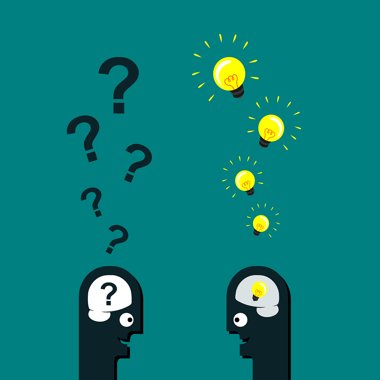 green background with 2 black stylized humans one with a question mark the other with a lightbulb