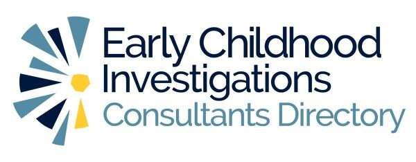 Logo for Early Childhood Investigations Consultant directory, light blue and dark blue shapes and te