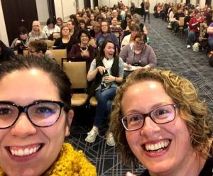 Photograph of Rebecca Philipsen and Joanna Nelson Rendon presenting at YALSA
