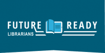 Logo for Future Ready Librarians, blue background with white text and open light blue book