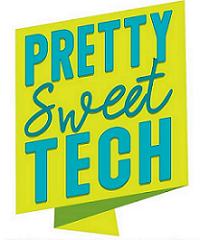 PrettySweetTech logo, turquoise text on yellow background