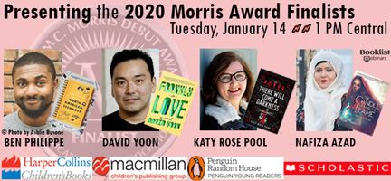 photos of morris award finalist authors with book covers