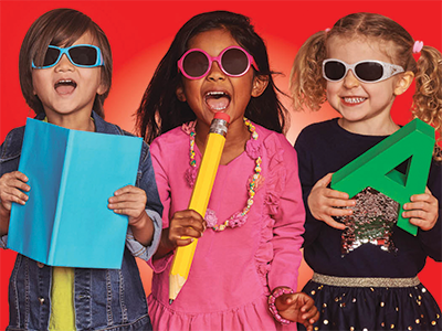 children in sunglasses with school supplies