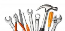 photo of tools: hammer, pliers, wrench, files etc.