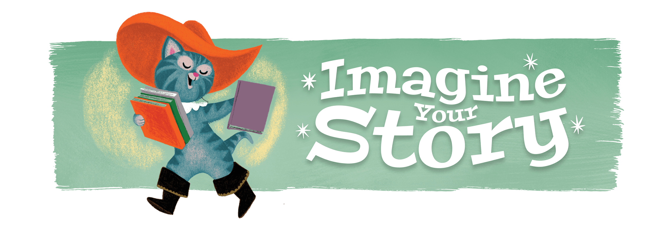 "CSLP banner with cat in boots and hat reading a book next to slogan ""Imagine Your Story"""