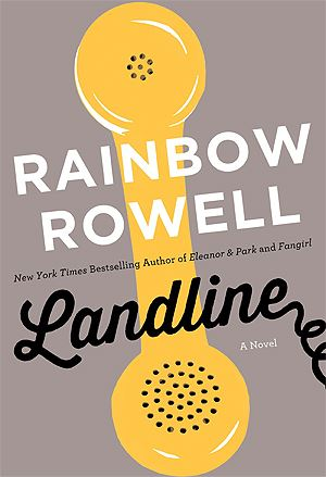 Landline book cover. Illustration of a yellow telephone handset on a gray background.
