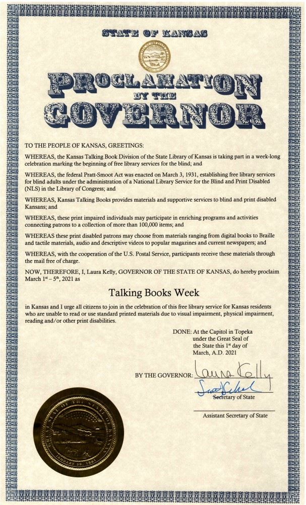 kansas talking book week proclamation with seal and signature from Governor Laura Kelly